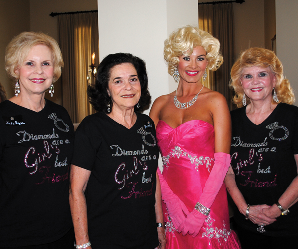 "Nothing quite like Marilyn Monroe to jazz up an event. So Panhellenic Fall Fashion Show Chairman Kay Lee Benoit, right, and Co-Chairmen Judie Ferguson and Jo Cat Bruce, from left, inked her for ""Diamonds Are A Girl's Best Friend,"" coming up Friday, Nov. 1, at South Shore Harbour Resort and introduced her to the crowd at the Fall Friendship Tea."
