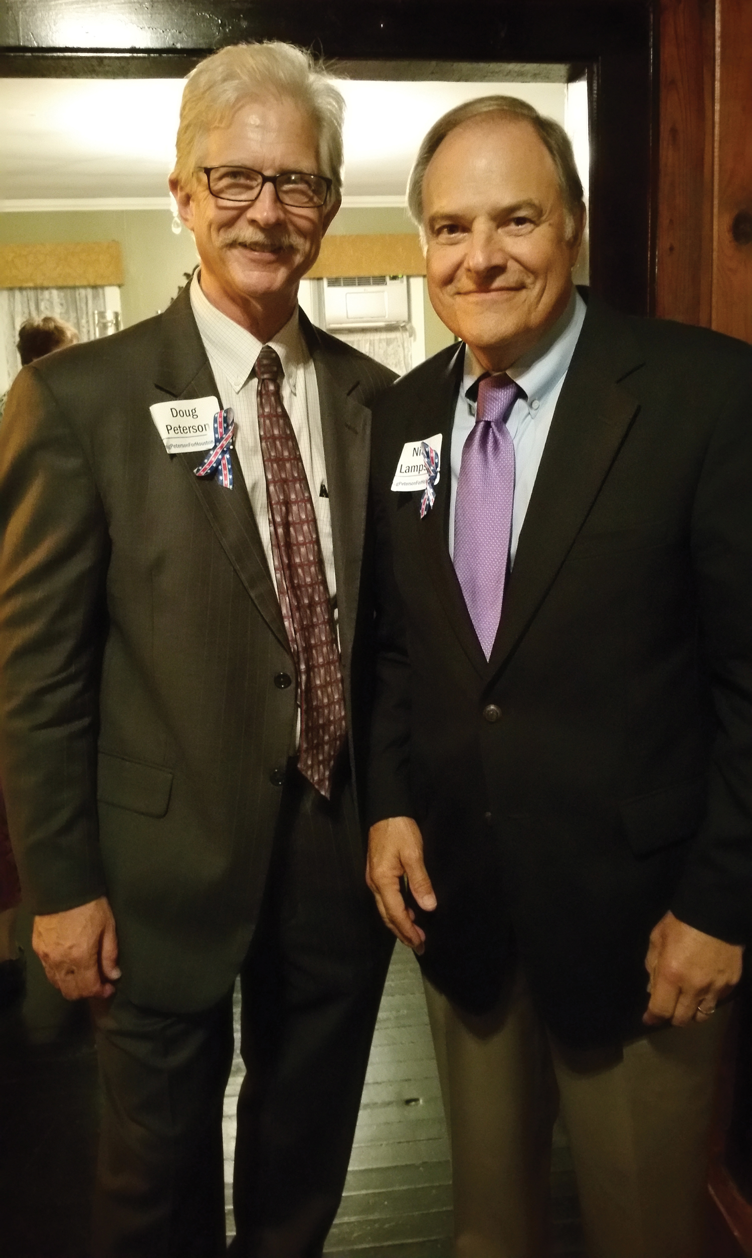 Doug Peterson, left, kicked off his campaign for Houston City Council At Large Position 3 Sept. 8 with former Congressman Nick Lampson on hand to wish him well. After years in NASA External Affairs, Peterson promised to work for all Houston, from Clear Lake up to Kingwood and from the east side to the west side.