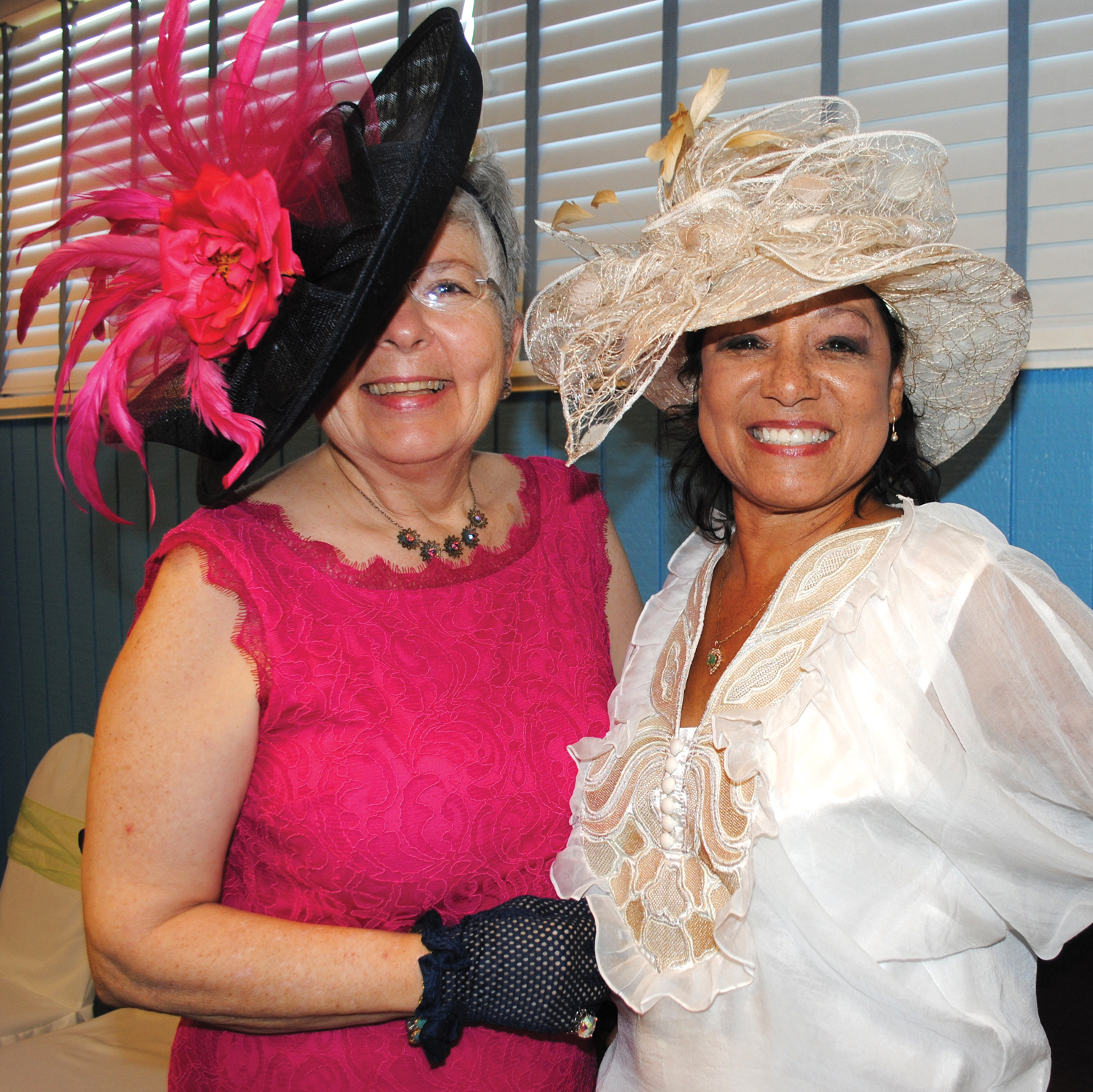 "Fancy hats worn by Barbara ""Babs"" Bukowski, left, and Varchia Morgan caught everyone's eye as they arrived at Lakewood for the Afternoon Tea."