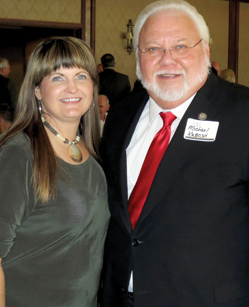 Houston City Councilman Michel Kubosh visits with Lora-Marie Bernard, who was representing Guidry News at the BAHEP reception at Lakewood Yacht Club.