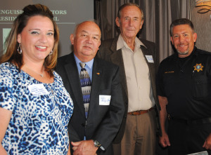 Clear Lake Shores was well represented at the Clear Lake Area Chamber luncheon at the Nassau Bay Hilton featuring Houston Mayor Annise Parker as the keynote speaker by, from left, Councilwoman Amanda Booren, City Administrator George Jones, Mayor Vern Johnson and Police Chief Kenneth Cook.