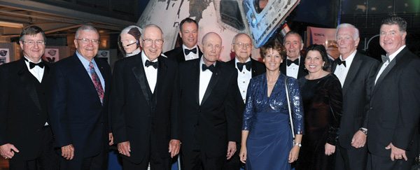 Astronauts Frank Culbertson, Fred Haise, Jim Lovell, Mike Lopez-Alegria, Tom Stafford, Alan Bean, Eileen Collins, Walt Cunningham, Mary Ellen Weber, Gene Cernan and Tom Henricks, from left, were in the crowd honoring Texas Congressman Ralph Hall at the 2013 space gala at the Frontiers of Flight Museum in Dallas.