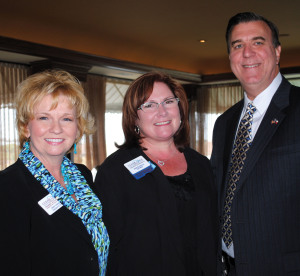 Clear Lake Area Chamber President Cindy Harreld, left, and Chamber Chairman Sharon Proulx welcome new State Rep. Dennis Paul to the Chamber Government Affairs Committee Luncheon at Landry's Seafood Restaurant on the Kemah Boardwalk to discuss the upcoming Texas Legislature session.
