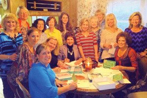 Clear Lake Area Panhellenic members gather around to prepare holiday cards to be delivered to a VA nursing home in appreciation of services rendered. Taking part are Sheryl Williams, President Kim Barker, Peggy Clause, Emmeline Dodd, Laurie Vaughn, Lisa O'Brien, Michelle Richardson, Marjo Richmond, Kay Lee Benoit, Diane Overman, Jo Cat Bruce, Kathie Wiley, Kathryn Vernau, Sue Broughton, Jo Nell Hunter and Jill Reason.