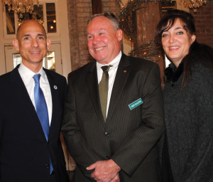 League City Chamber President Laurie Baldwin and Legislative Affairs Committee Chairman Chris Maginnis, center, thank State Rep. Dr. Greg Bonnen for updating chamber members on security problems at the U.S.-Mexican border during a breakfast meeting at Butler's Courtyard.