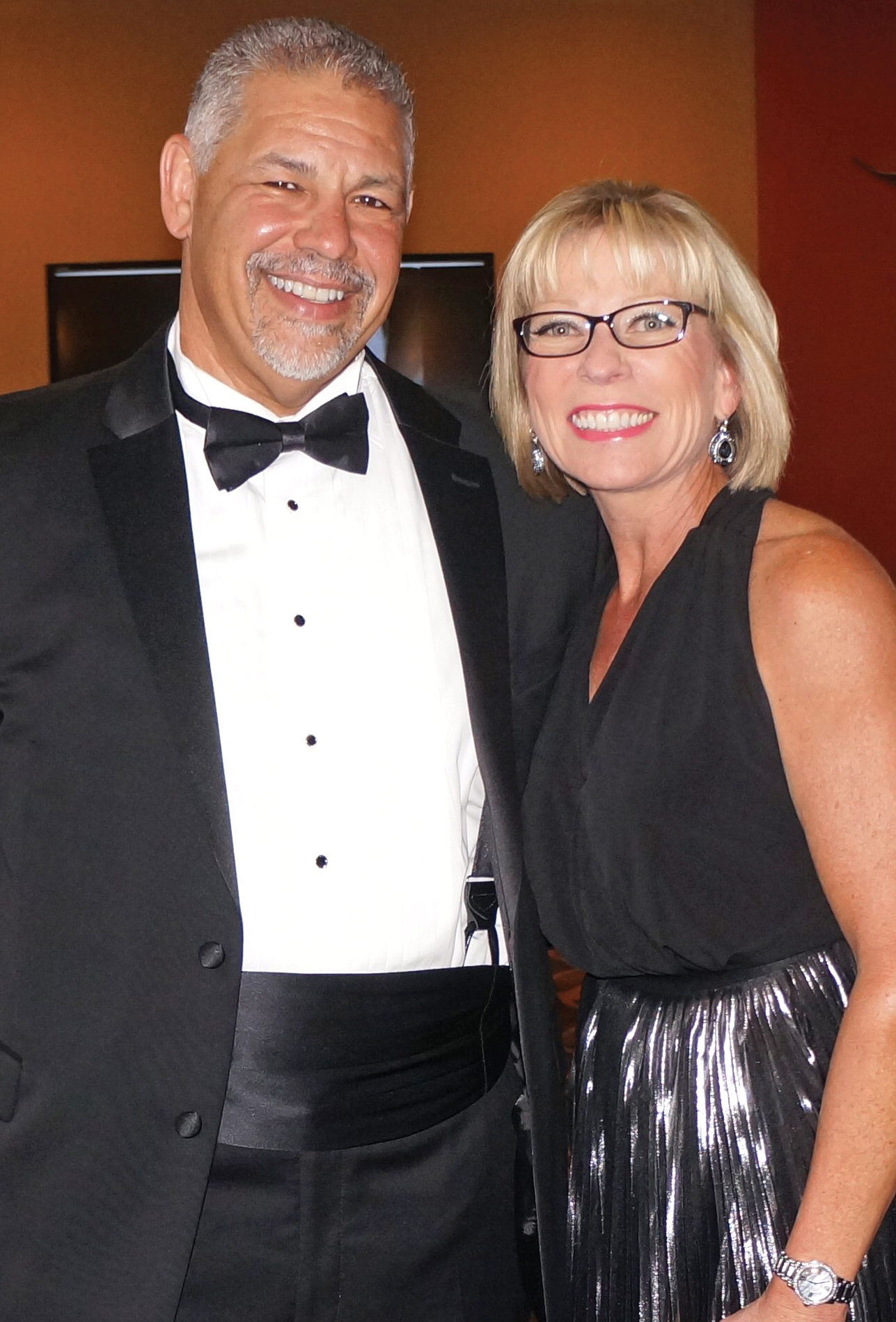 Bay Oaks Women's Association President Jodi Schnabel and her husband, Kirby, are ready to welcome the arriving crowd as the annual BOWA gala gets underway.
