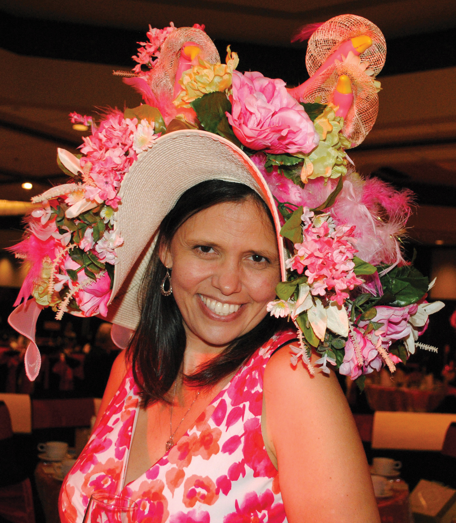 Kristin Leary shows off the beautiful hat she made especially for the Clear Lake Panhellenic Fall Fashion Show Luncheon.