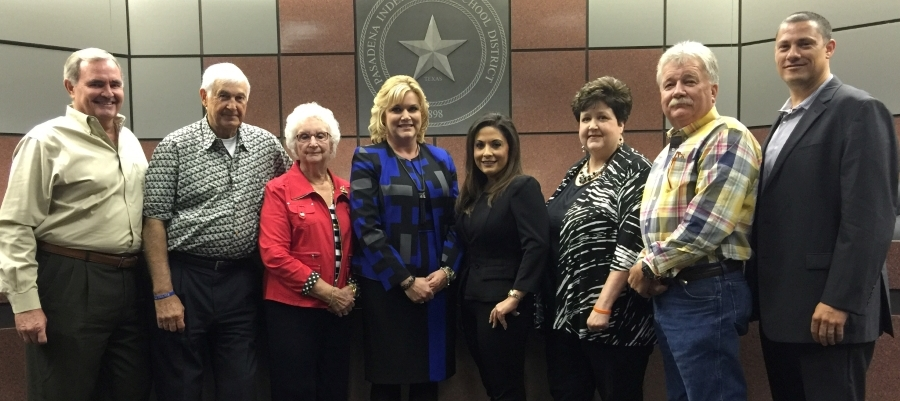 Pasadena ISD Board of Trustees take time out for a photo with  Dr. DeeAnn Powell, the lone finalist for superintendent of schools. They are, from left, Trustee Jack Bailey, Secretary  Marshall Kendrick, Assistant Secretary Nelda Sullivan, Dr. Powell, President Mariselle Quijano, Vice President Vickie Morgan, and Trustees Fred Roberts and Kenny Fernandez.