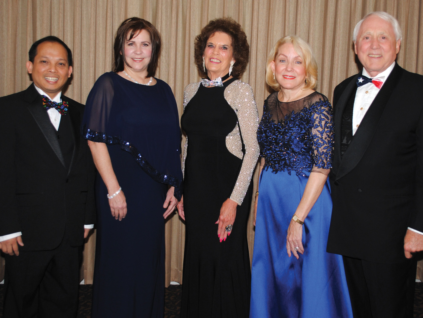 Superstar Award winners for 2015 line up for a picture at the reception in their honor prior to the CCEF Gala at South Shore Harbour Resort. They are, from left, CCISD Teachers of the Year Anthony Tran and Tonia Doerre Toque, Emmeline Dodd, Dr. Pat Wilson and Capt. Wendell Wilson.