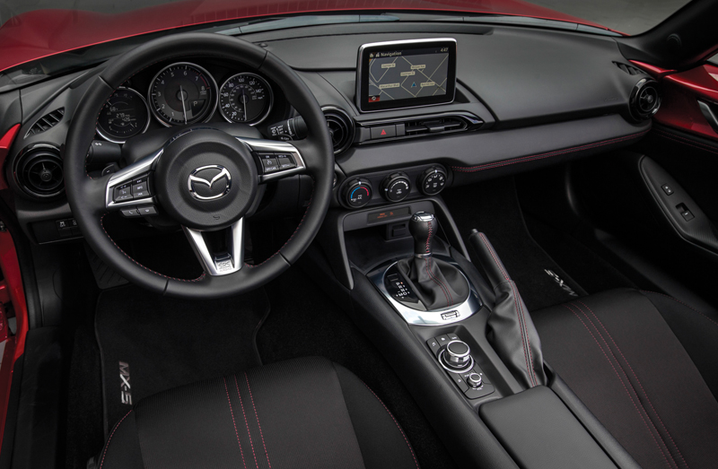 The sleek interior of the MX-5