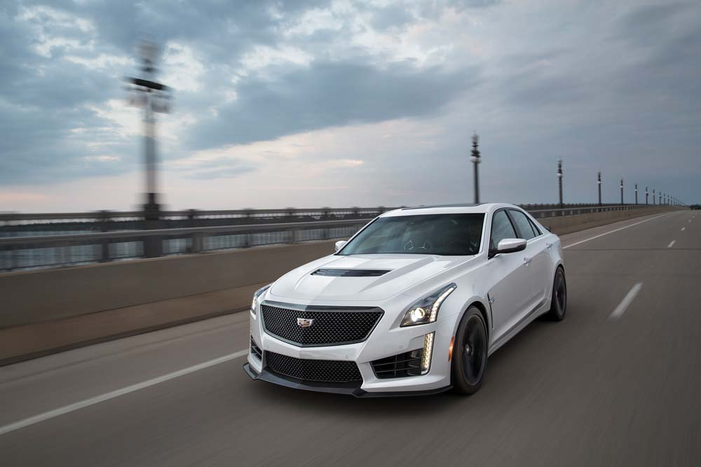 The 2017 Cadillac CTS-V super sedan. After a sold-out 2016 model year, the Cadillac CTS-V receives technology enhancements and an available Carbon Black Package for 2017.