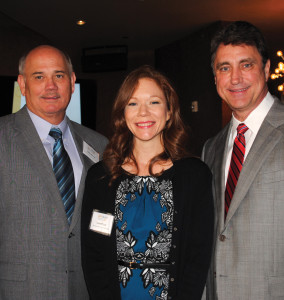 Seabrook Mayor Glenn Royal, right, and City Manager Gayle Cooke visit with Bay Area Houston Economic Partnership President Bob Mitchell as they arrive at Cullen's Upscale Grille for the Bay Area Houston Transportation Partnership's February luncheon.