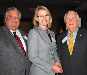 Union Pacific Railroad Public Affairs Vice President Brenda Mainwaring arrives at Cullen's Upscale Grille to address the BayTran luncheon. With her are attorney Hugh McCulley, left, and Harris County Transit Services Director Ken Fickes, who is also a BayTran board member.