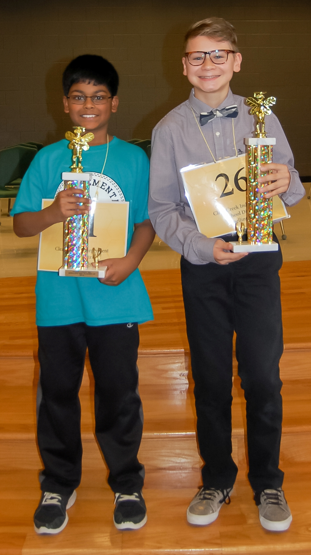 These guys can spell with the best. They are, 2016 Spelling Bee 1st Place winner Asher  Warmanen, right, a seventh grader at Seabrook Intermediate; and 2016 Runner-Up, Haneef  Mohammed, a fifth grader at Weber Elementary.