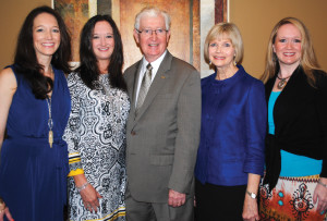 Dr. John Jennings, 65th president of the American Congress of Obstetricians and Gynecologists, with his wife, Sue Ellen, and their daughters, Allison Poston and Amy Kershner, from left, and Beth McDaniel, right, arrives at Bay Oaks Country Club to address the Women's Association.