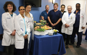 Physicians enjoying the special Doctor's Day luncheon prepared in their honor at Houston Methodist St. John Hospital in Nassau Bay included, from left, Drs. Anna Richmond, Maha Al-Lahiq Sixian Welch, Michael Sher, Bethune Escalante, Matthew Rockett, Conrad Fischer and Perry Fulcher.