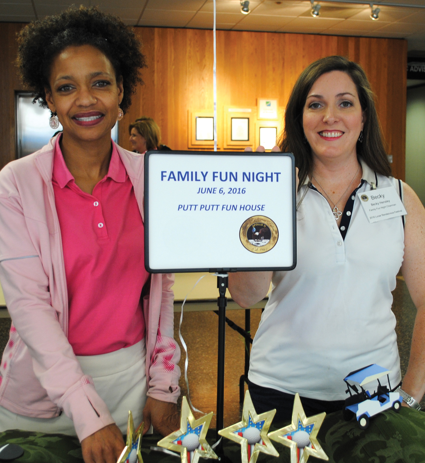 Family Fun Night Chairman Becky Hensley, right, and Co-Chairman Page Rander hope to have a big crowd at the Putt-Putt Fun House in Webster Monday, June 6.