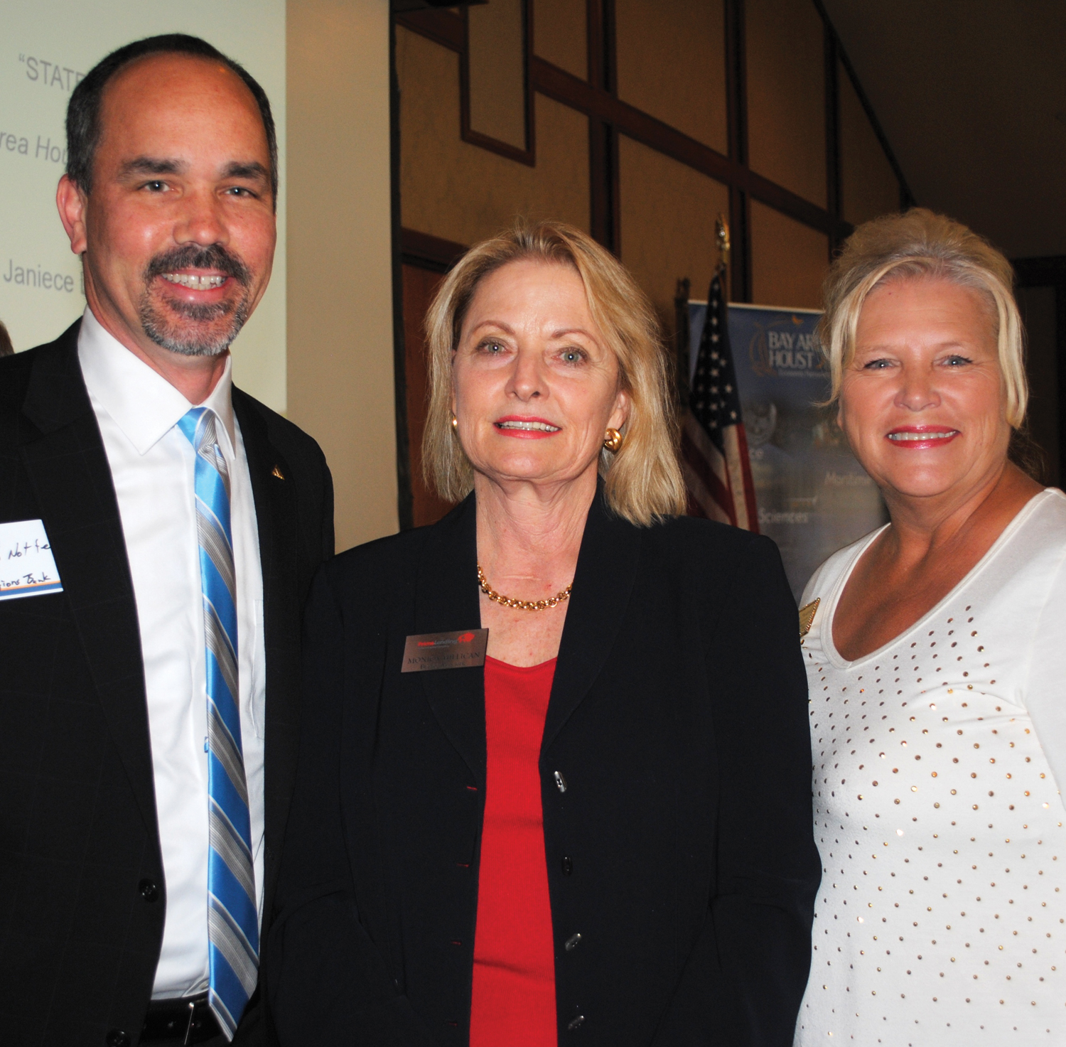 Early arrivals at BAHEP's State of the Port meeting at Lakewood Yacht Club included Brad Notter of Regions Bank; Monica Millican, PrimeLending's Bay Area branch manager; and Fay Picard, district director for State Rep. Greg Bonnen.