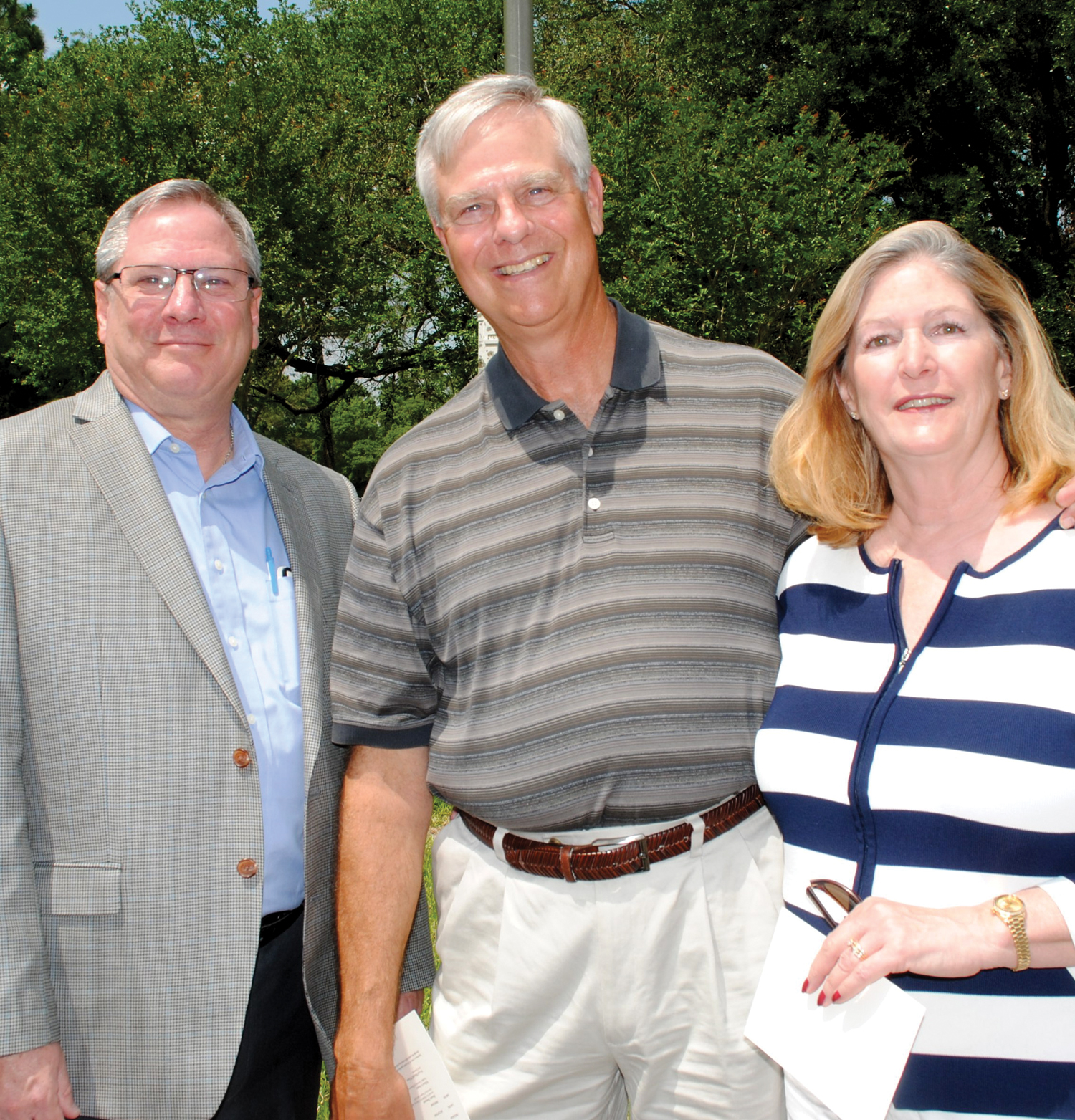 Former Seabrook Mayor Gary Renola and his wife, Elaine, right, and former UHCL Associate Vice President Dion McInnis were among the many at the Wilson park dedication. McInnis began plans for the park before retiring.