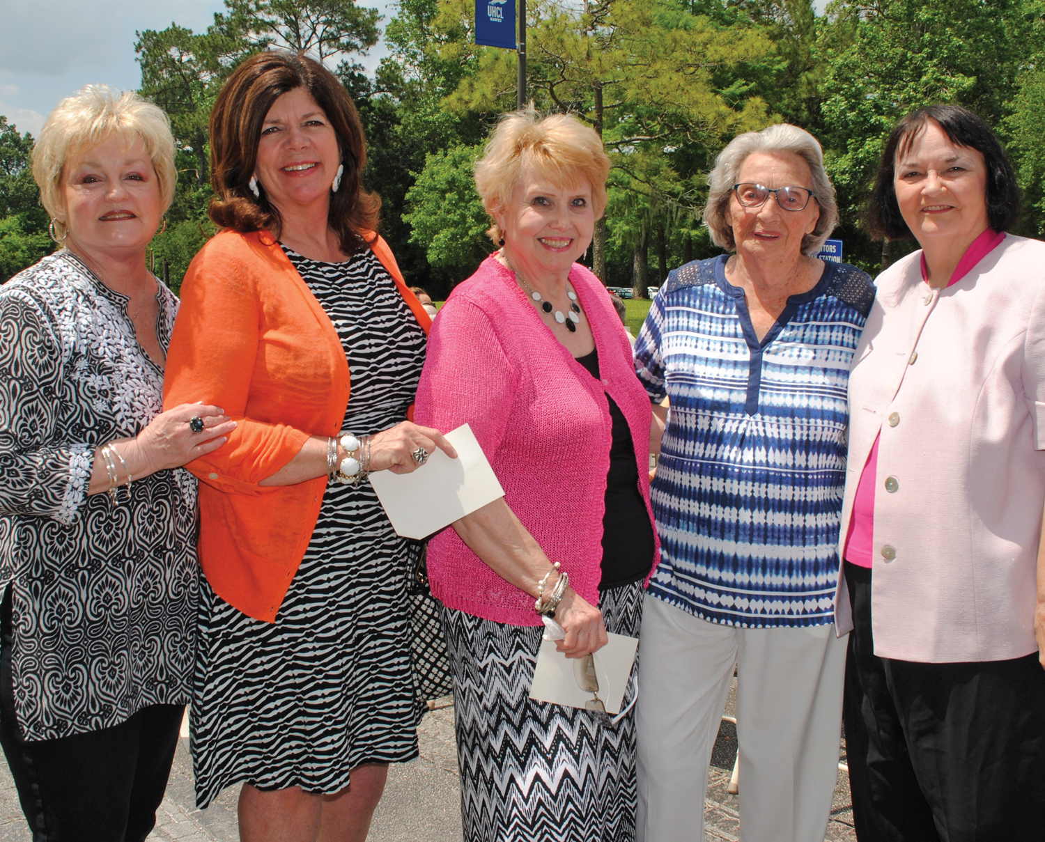 Many long-time friends of the Wilsons were in the crowd for the dedication of Pat and Wendell Wilson Park May 3 including, from left, Betsy Bush, Kippy Caraway, Martha Ferebee, Lois Mohrhusen and Pat Hargrove.