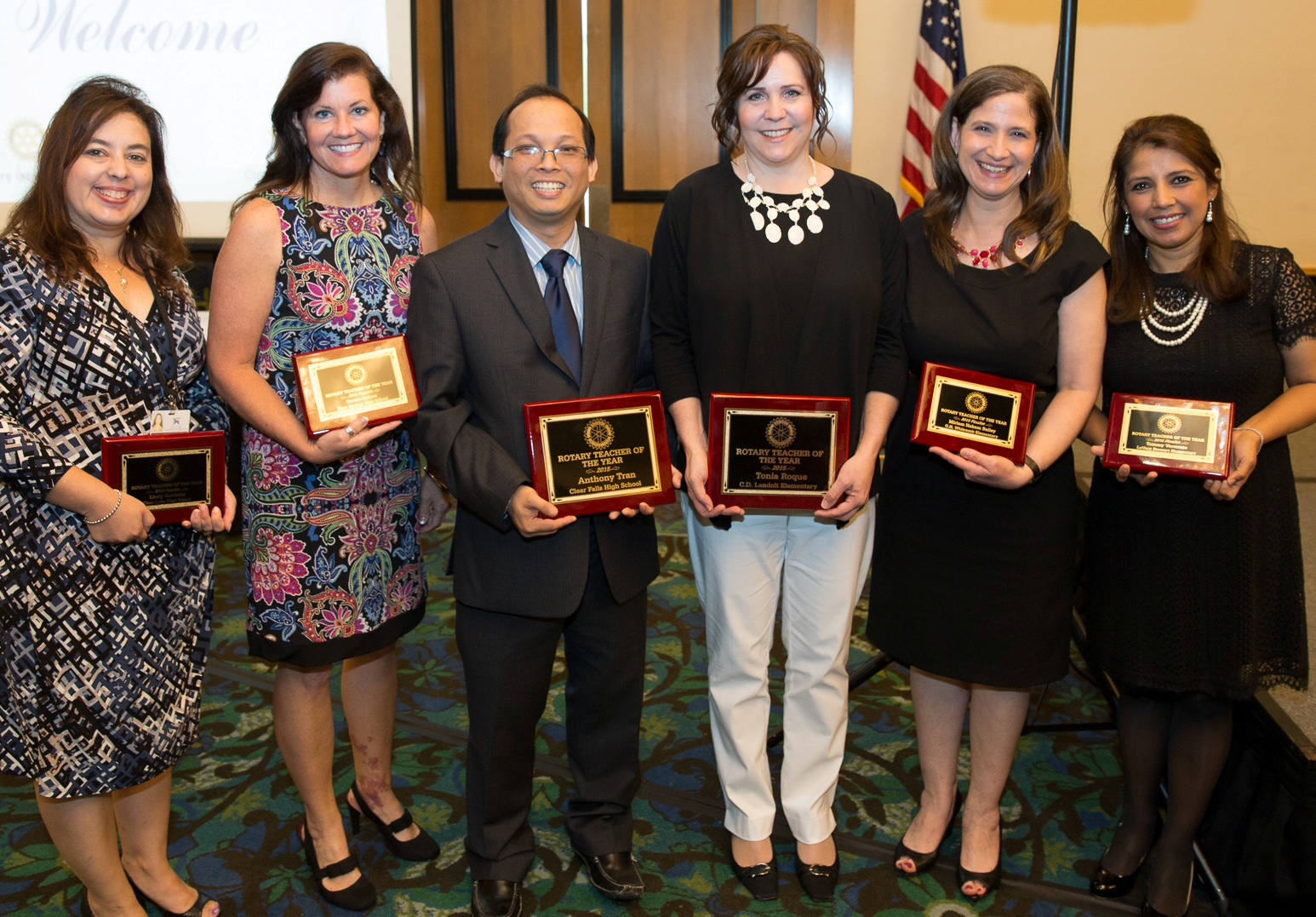 The six finalists for Clear Creek ISD Teacher of the Year get together for a photo as the program comes to an end. They are, from left, Lindy Goodwin, Clear Lake High; Teresa Cotton, Clear Springs High;Anthony Tran, Clear Falls High; Tonia Roque, Landolt Elementary;  Miriam Bailey, Whitcomb Elementary;  and Tammy Verstrate, Stewart Elementary.