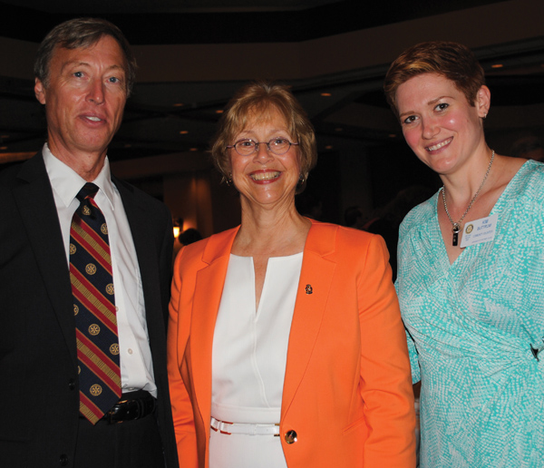 Presidents Jeremy Hood of Seabrook Rotary, Marilyn Musial of Space Center Rotary and Kim Buttrum of League City Rotary, from left, hosted the Teacher of the Year Luncheon South Shore Harbour Resort.