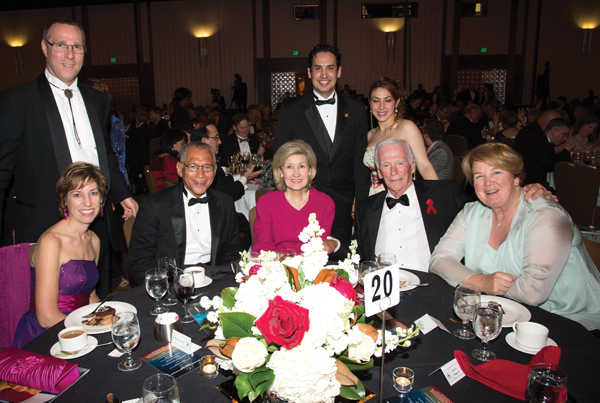 There were smiles all around the table as former Sen. Kay Bailey Hutchison was honored at the Rotary Space Gala at the Downtown Houston Hyatt Regency.  They are, from left, seated, JSC Director Ellen Ochoa NASA Administrator Charles Bolden, Senator Hutchison, Capt. Eugene Cernan, Joanne Macquire; standing, Dr. Ochoa's husband, Miles Coe, and RNASA Gala Chairman Rodolfo Gonzalez and his wife, Anangela.