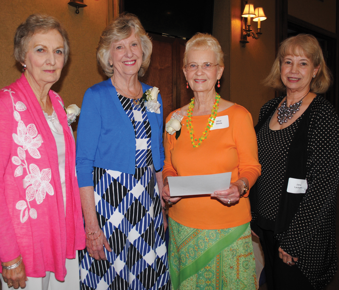 Mary Voigt, second from left, is the new president of the Houston Symphony League Bay Area. Among those who will be assisting her in the coming year are, from left, Nominations Chairman Dana Puddy, Corresponding Secretary Alice Steele and Recording Secretary Jane Lackow.