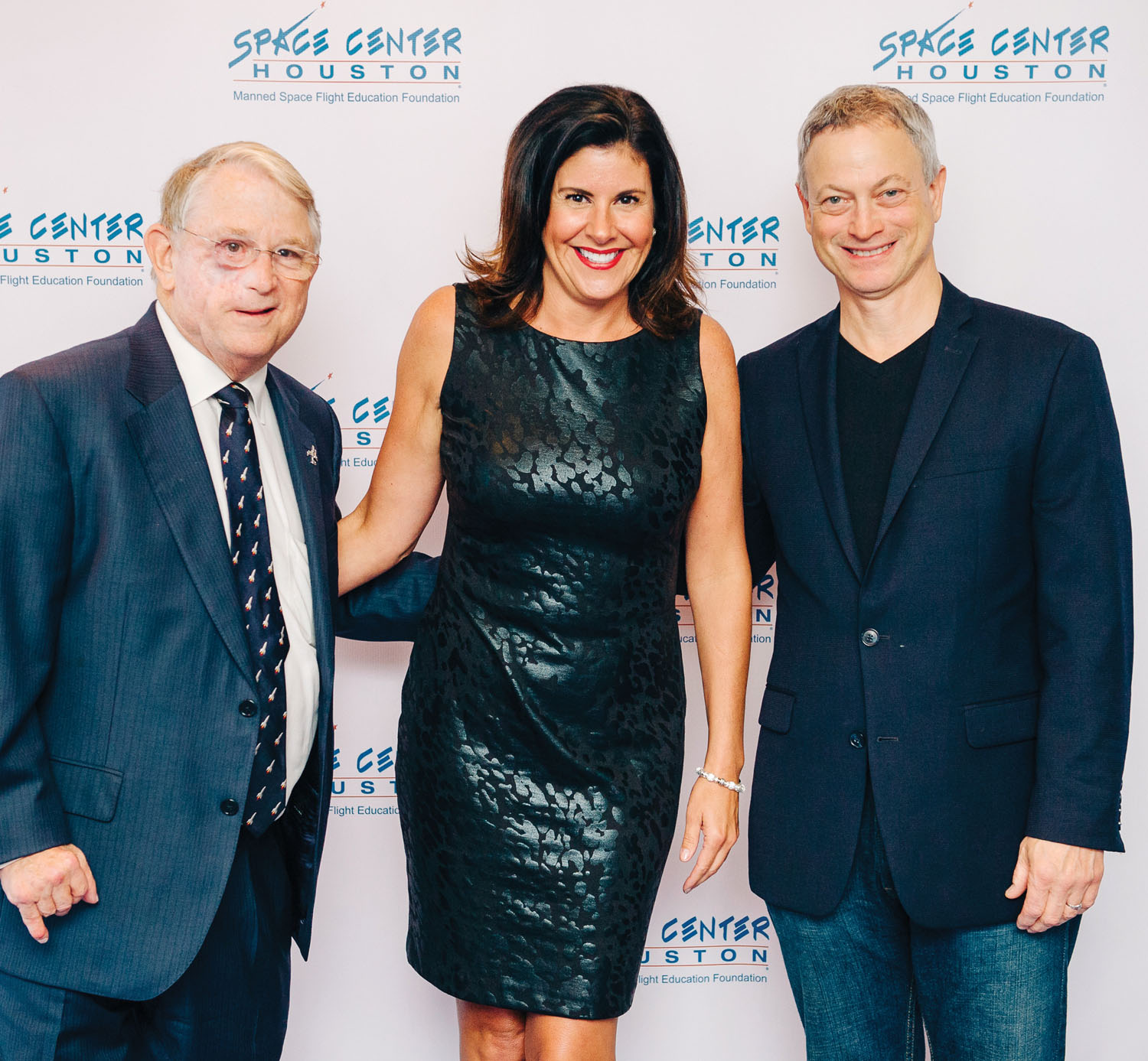 Developer Fred Griffin. left, a Manned Space Flight Education Foundation board member, and his assistant, Heather Waters, meet award-winning actor Gary Sinise at Space Center Houston's inaugural Galaxy Gala.