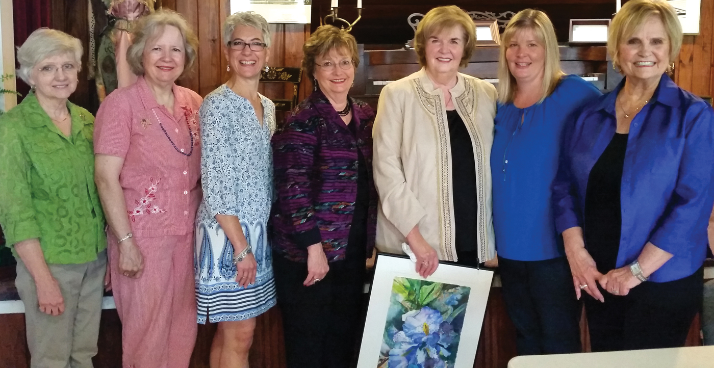 Museum Guild officers for 2015-16 line up for a photo at their luncheon at the museum. They are, from left, Treasurer Diana Dornak, Corresponding Secretary Cindy Kuenneke, Second Vice President Justine Powell, Co-First Vice Presidents Barbara Spencer and Carole Murphy, President Brandie Corrao and Parliamentarian Jan Larson