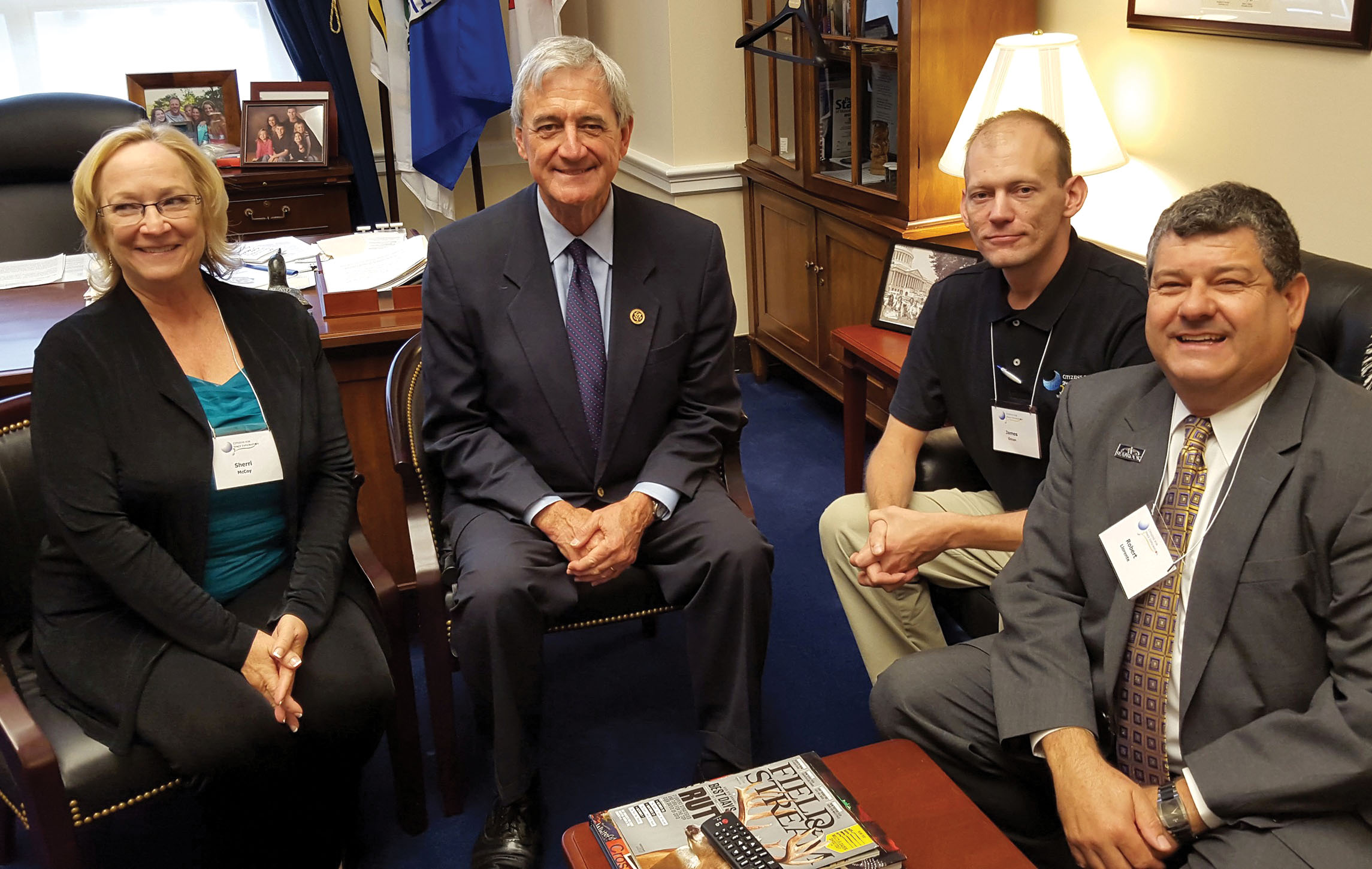 Over the course of two days, 95 Citizens for Space Exploration travelers made a record 376 congressional office visits. Shown are Sherri McCoy, Minnesota Rep. Rick Nolan, James Oman, and Seabrook Councilman Robert Llorente.
