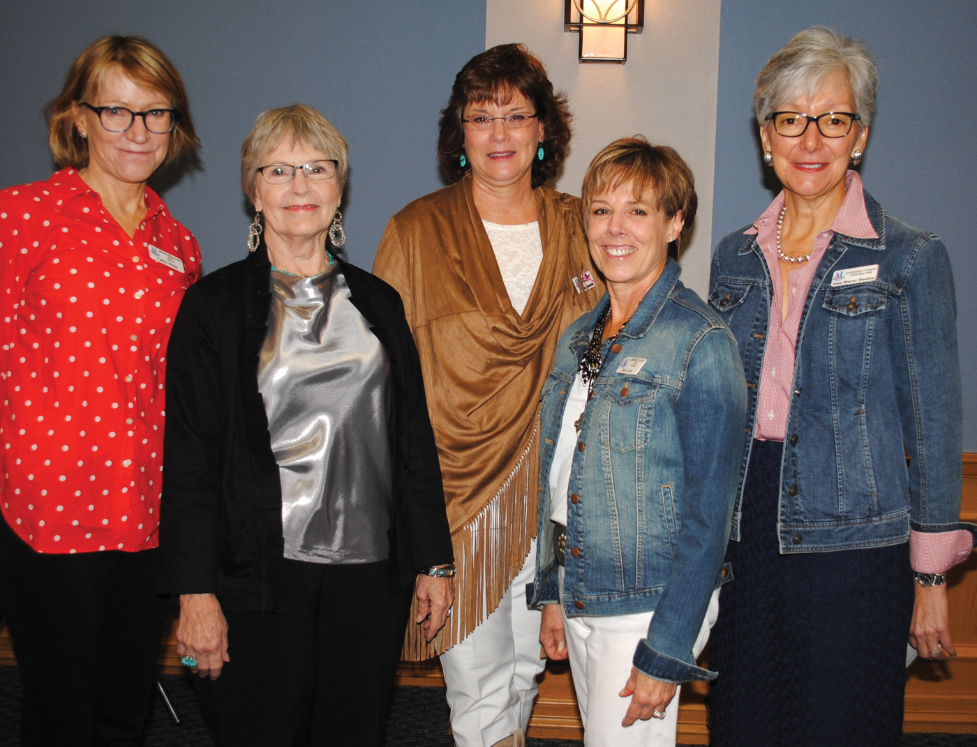 Dee Cover, fourth from left, is the new president of the Assistance League of the Bay Area. Other new officers joining her here for a photo are, from left, Secretary Cathy Wolfe, Vice Presidents Ellen Lancaster and Katy Bastedo and President-elect Ann-Marie Doolin. The treasurer, Barbara Weitenhagen, was absent.