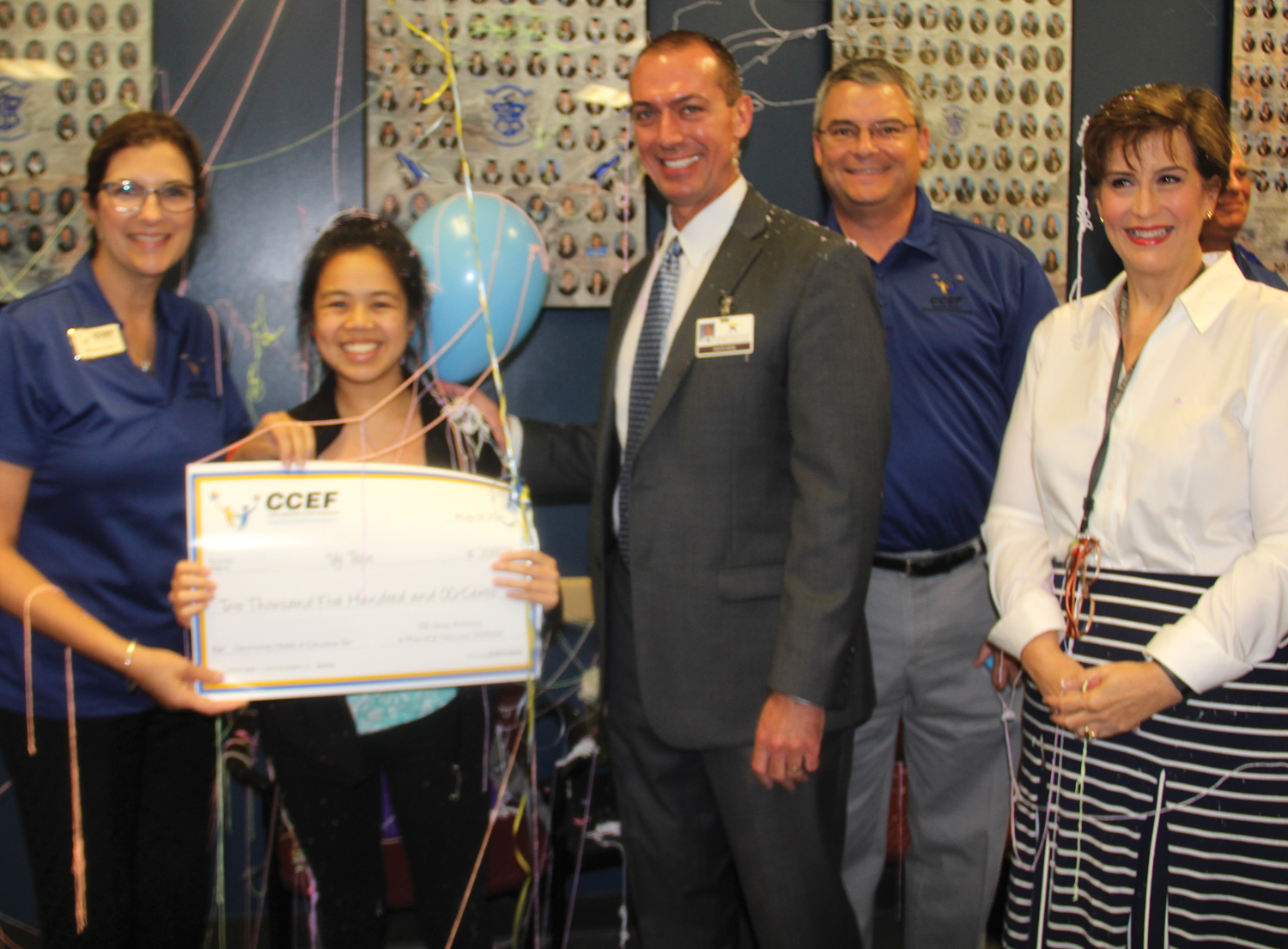 "Vy Tran of Clear Horizons Early College High School can hardly contain her excitement on winning her grant, ""Community Health and Education Fair."" Helping her celebrate are sponsors Rebecca Lilley with Memorial Hermann Southeast, CHECHS principal Dr. Brett Lemley, Danny Brewster with IBI Architects and teacher sponsor Valerie Kahlich."