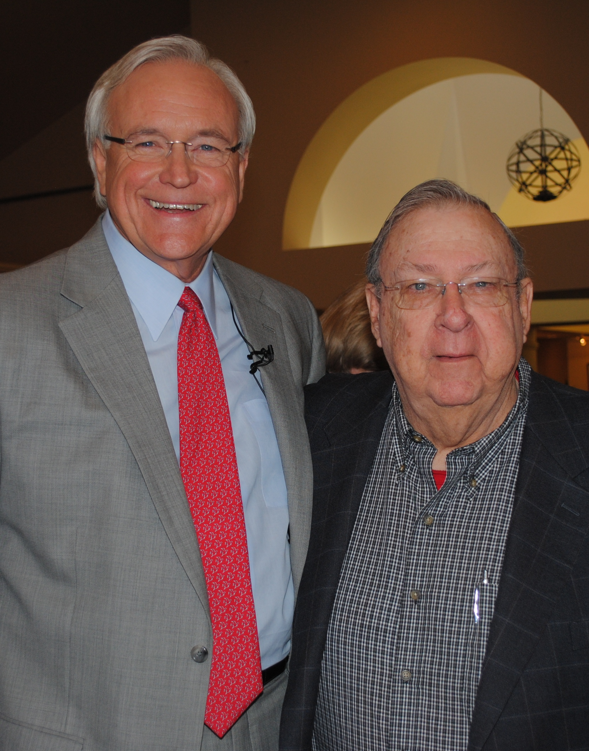 Houston mayor candidate Bill King, left, with his retired Clear Creek High Principal Ralph Parr.
