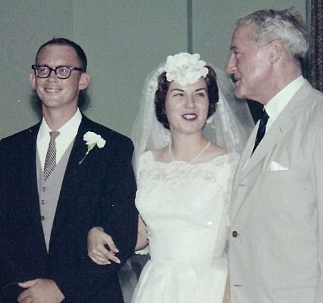 Sen. John Sherman Cooper (R-Ky), right, who came with his wife, Lorraine, congratulates Charlie and Kathy Harlan at their wedding in 1963.