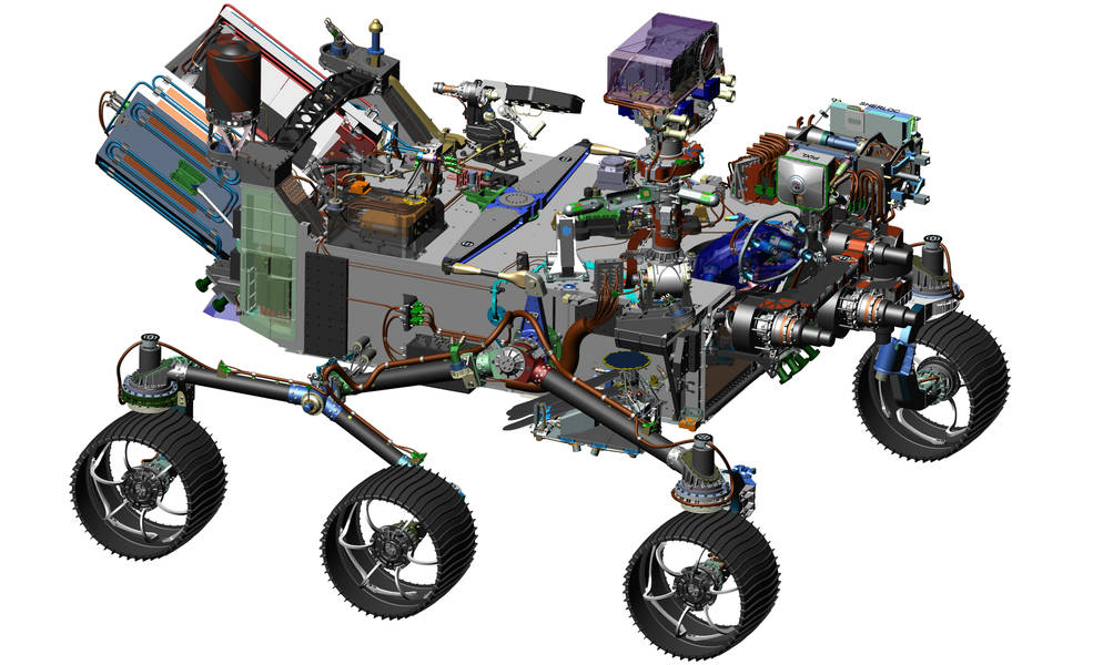 This image is from computer-assisted-design work on the Mars 2020 rover. The design leverages many successful features of NASA's Curiosity rover, which landed on Mars in 2012, but also adds new science instruments and a sampling system to carry out new goals for the 2020 mission. NASA/JPL-Caltech