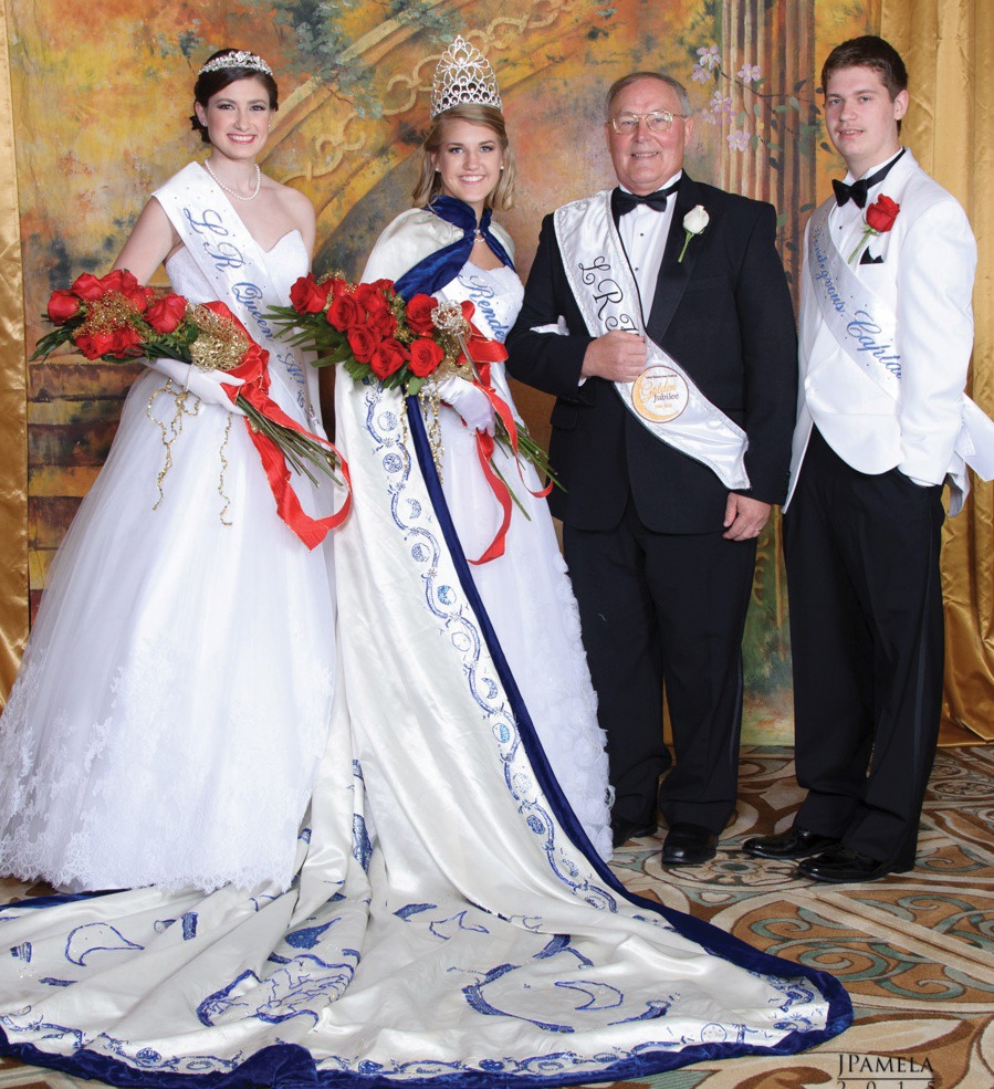 2016 Lunar Rendezvous Queen Mariska Valerie Mes joins 2015 King Jerry Ross, Queen Alternate Jessica Michelle Monette and Capt. Joseph Michael Corrao for a photo shortly after she was crowned during the festival finale, the Coronation Ball at the Galveston Convention Center.