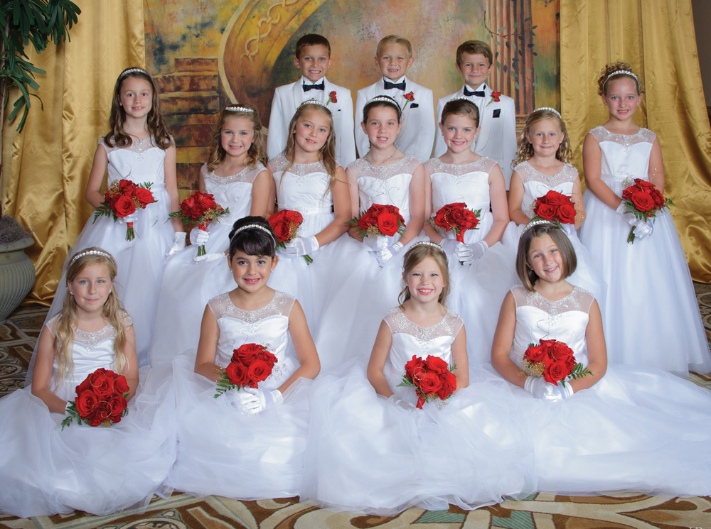 Meet the Little Court, which was presented at the 2015 Lunar Rendezvous Coronation Ball in Galveston. They are, from left, front row, Madelaine Louise Kelly, Andrea Victoria Hernandez, Bella Burton Rogers and Mary Addison Culp; middle row, Isabella Jade Amdur, Lily Ellen Chuoke, Claire Elizabeth Farley, Gwendolyn Ellen Cook, Helen Grace Byrd, Emme Ann Lyon and Natalie Grace Lehman; and top row, Wyatt Mitchell Chuoke, Gregory Maddox Culp and John David LeBlanc.