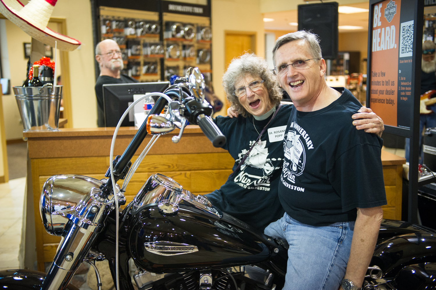 Sister Rosanne Popp MD, original event co-creator and Duncan Finlayson, kickoff the 11th Annual Nun Run on Aug. 12 at Stubbs Harley-Davidson.