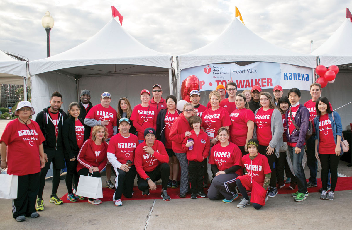 (Left) Kaneka North America top Heart Walk sponsors. (Right) Memorial Hermann Southeast's Rebecca Lilley served as Heart Walk Co-Chair.