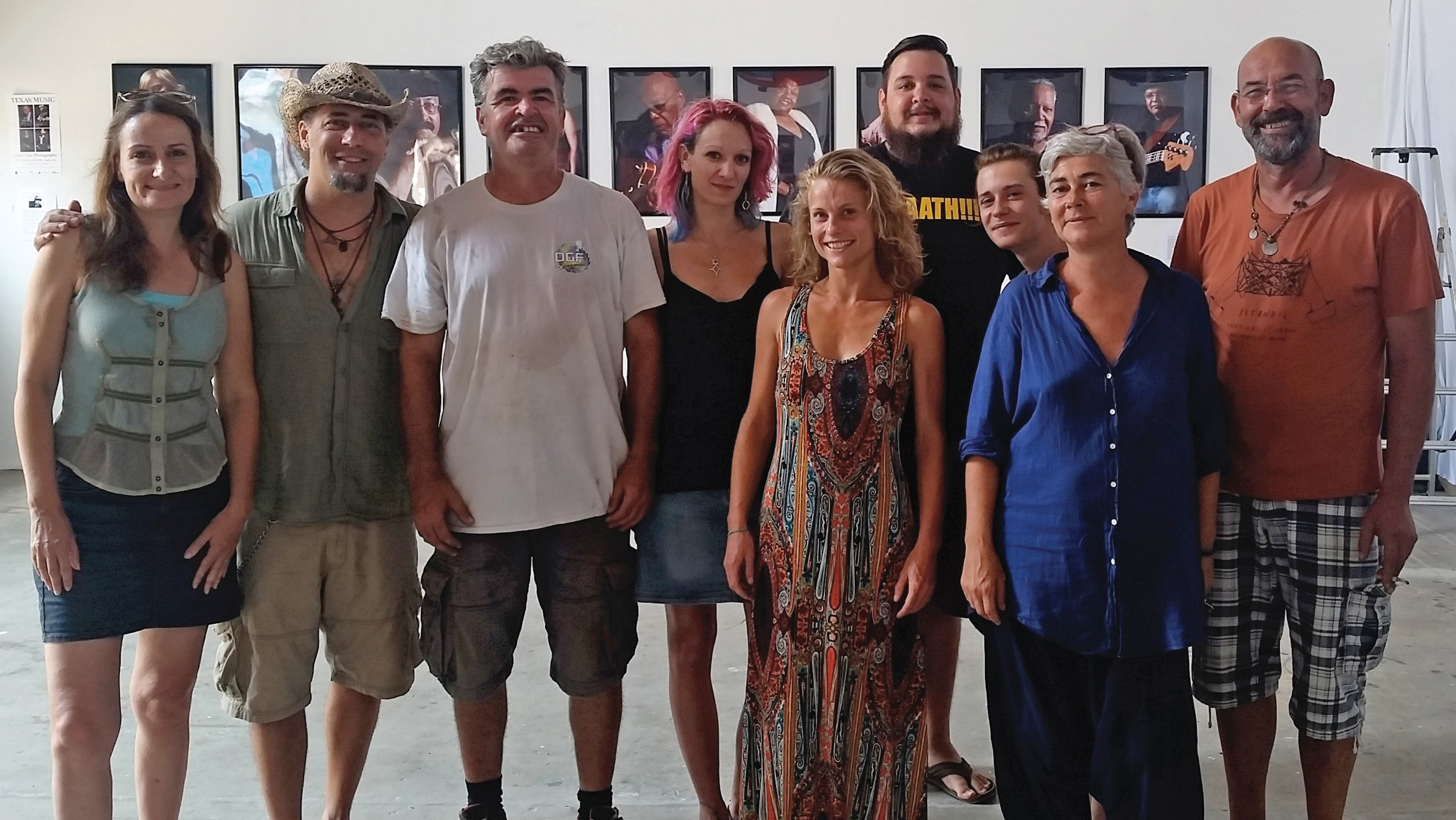 The team at Le K Gallery and performance space hosted Zach Tate's photo exhibit and music concert. Zach Tate and Anthony Puskus performed on the second night of the photo exhibition.  L-R: Photo show coordinator, Stephanie Gellee, Zach Tate, Daniel Descat, Magali Angleys, Wendy Mavet, Anthony Puskus, Clemont Dussol, Isabelle Lavernha (owner), Gilles Deverchere (Owner).