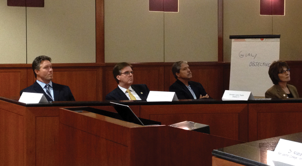 Right to left: Chad Burke, Senator Dan Patrick, Senator Larry Taylor, Brenda Hellyer.