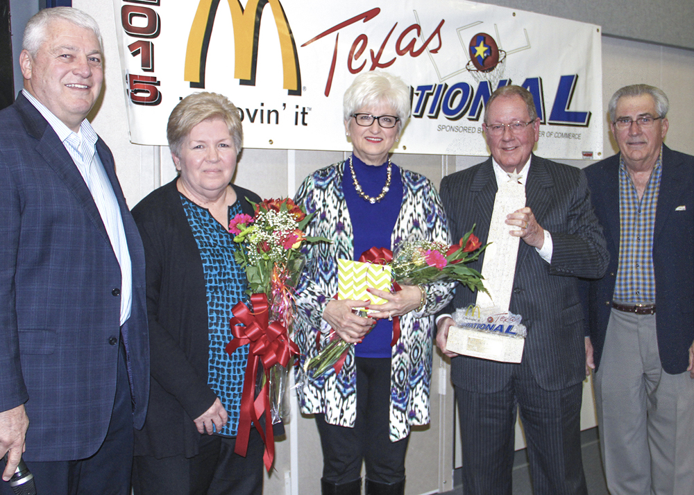 Founder and tournament chairman Ben Meador passed the torch this past January to Dr. Kirk Lewis.  Shown is Dr. Lewis, from left, Rita Townsend of Meador Staffing, Janice Meador, Ben Meador and Herman Williams of the PISD Education Foundation.
