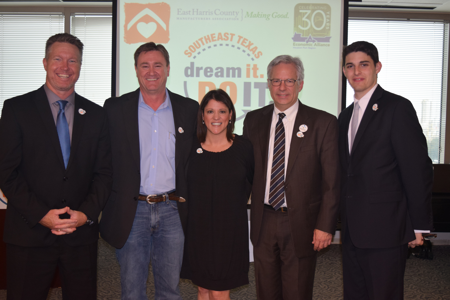 From left to right: Chad Burke, President & CEO, Economic Alliance Houston Port Region; Barry Klein, General Manager, Shell Deer Park; Claudia Vasquez, Sr. VP and Chief Program Officer, Neighborhood Centers Inc.; Peter Beard, Sr. VP, Greater Houston Partnership; Nicolas D'Antonio, Program Manager, Manufacturing Institute.