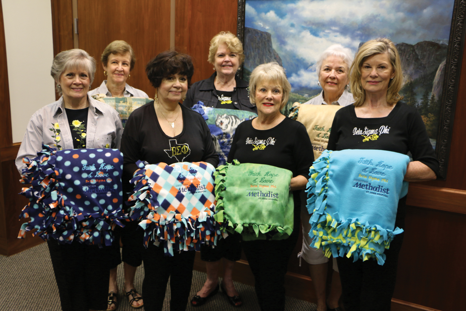 Beta Sigma Phi members from left, Nancy Cobbs, Beryl Hill, Penny Linton, Joyce Wilkerson, Jo Ann Luttgeharm, Peggy Fisher and Mary Jane Kugle with blankets they lovingly create for Houston Methodist St. John patients.