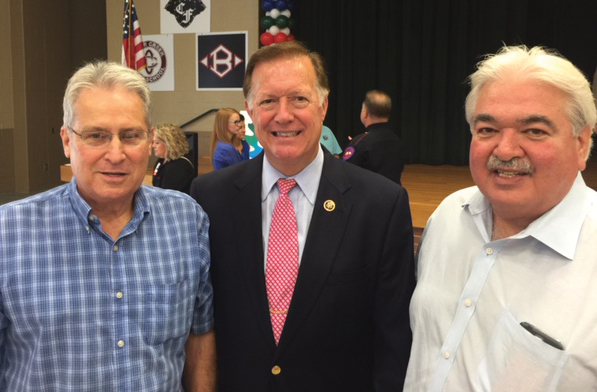 Rep. Randy Weber, center, was in the crowd at the annual League City Regional Chamber's annual Kickoff By the Creek at Clear Falls High School. Here, he stops to talk with Bay Area Houston Magazine Chairman Rick Clapp, right, and Distribution Director Tim Shinkle.