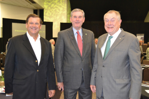 State Reps. John Davis, Ed Thompson and Wayne Smith, from left, have a small reunion while attending the 5th Annual Maritime & Petrochemical Outlook Conference at the Pasadena Convention Center Sept. 4.