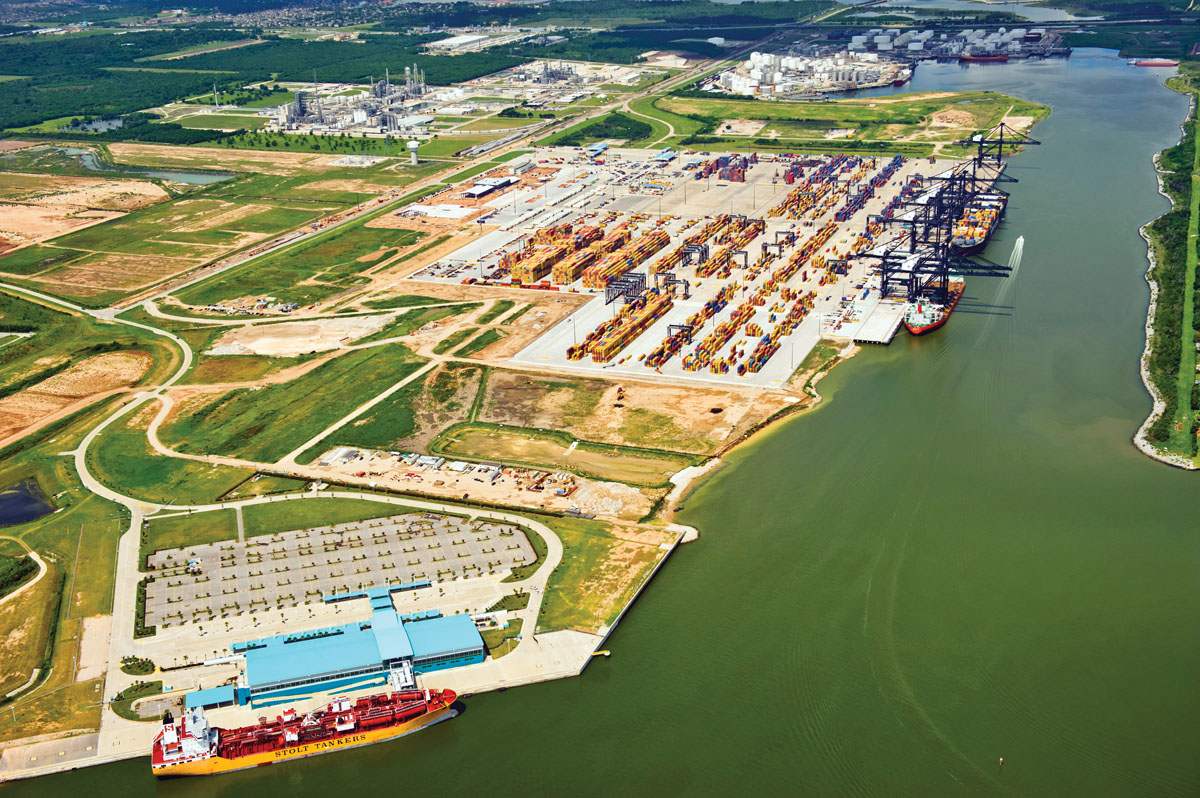 An aerial view of the Bayport Container Terminal