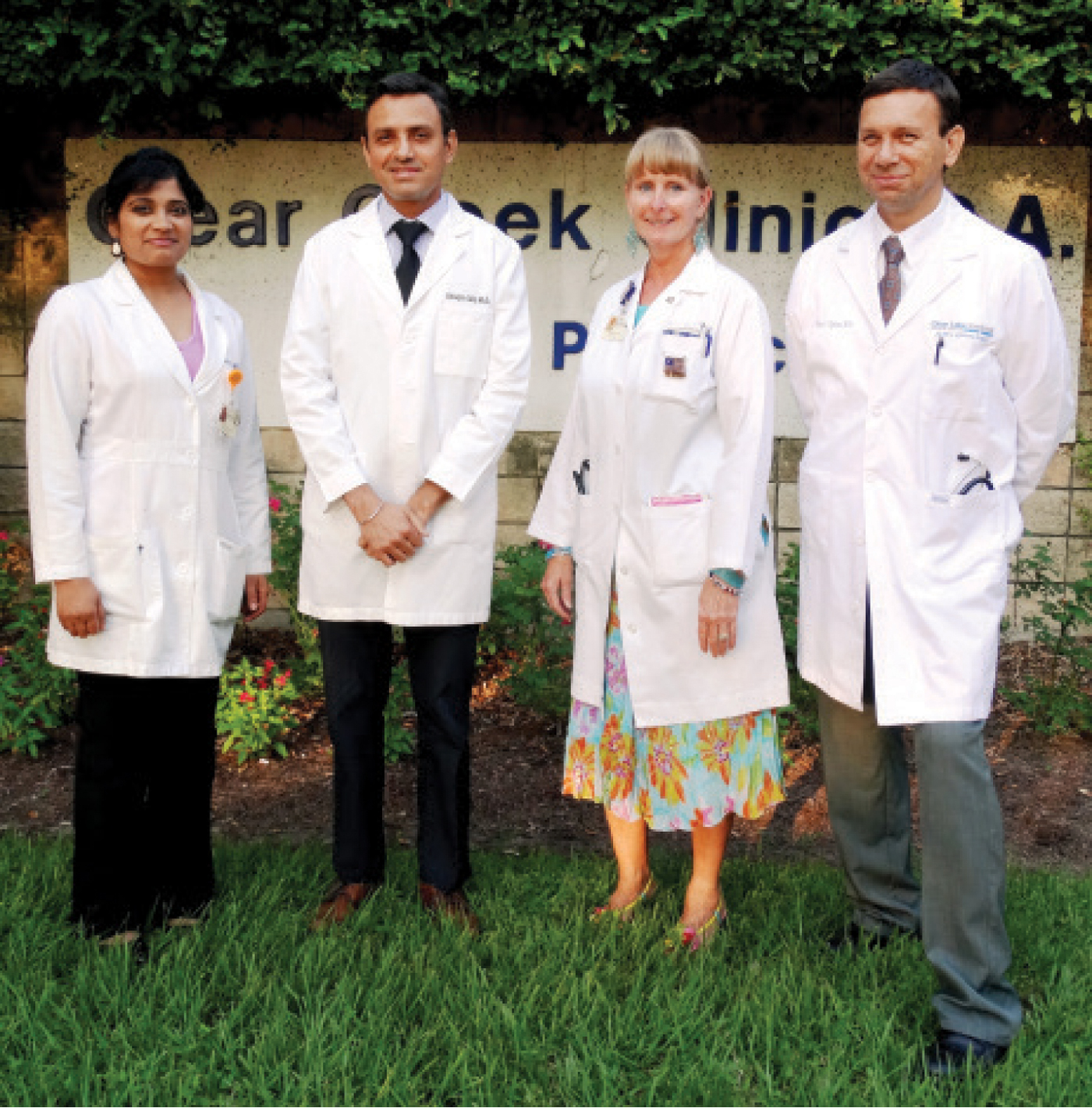 Clear Creek Clinic family physicians Dr. Chaitanya Alli, Dr. Shivjit Gill, Dr. Janice Teer, and Dr. Brian Aquino, from left, have joined the medical team at Houston Methodist St. John Hospital.