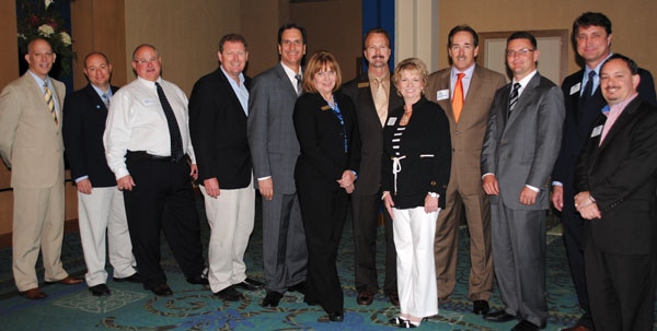 Participants in the 8th annual State of the Bay Tourism Address included, from left, South Shore Harbour Resort General Manager Roy Green, Kemah City Administrator Rick Beverlin, Kemah Mayor Bob Cummins, Galveston County Commissioner Ken Clark, Clear Lake Area Chamber Chairman Mike Furin, Convention and Visitors Bureau President Pam Summers, League City Mayor Tim Paulissen, Clear Lake Chamber President Cindy Harreld, Nassau Bay Mayor Mark Denman, Harris County Commissioner Jack Morman, Seabrook Mayor Glenn Royal and Mike Giangrosso, chairman of Bay Area CVB and Seabrook city councilman.